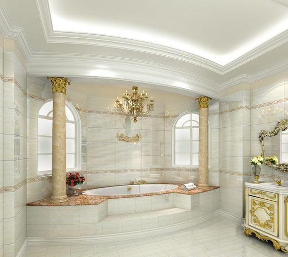 Interior 3d european luxury bathroom design rich for European bathroom ideas