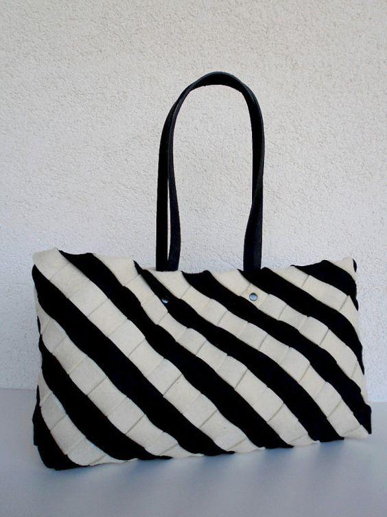 Black Felt Tote Bag White Wool Felt Tote Wool Felt by rwoodb