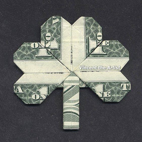 dollar bill origami shamrock leaf money dollar origami