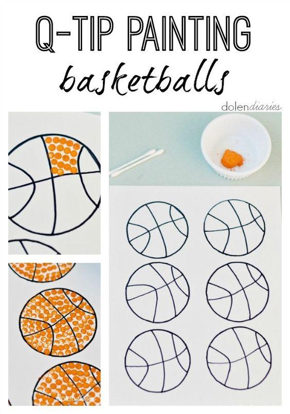 Q-Tip Painting Basketballs: FREE printable outline