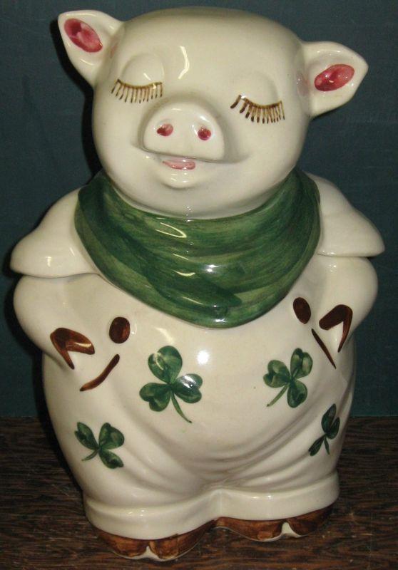 Shawnee Shamrock Smiley Pig Cookie Jar Nice Vintage Irish