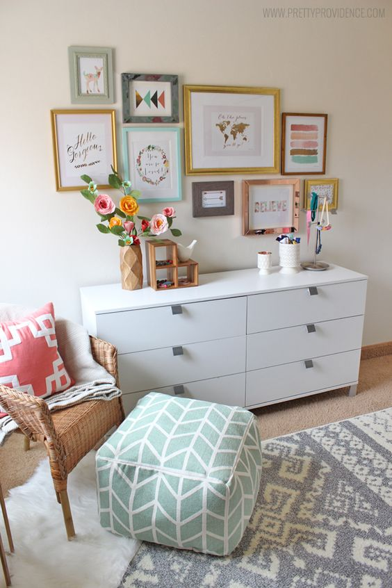 I am obsessed with this whimsical eclectic little girls room! Sweet, bright, and not at all predictable!