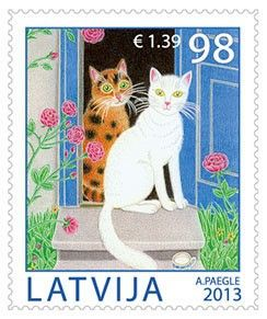 Cats are the most popular pets of Latvian families, and the Latvian Post issues a set of stamps in their honour on 26 July 2013. http://www.catstamps.org/: