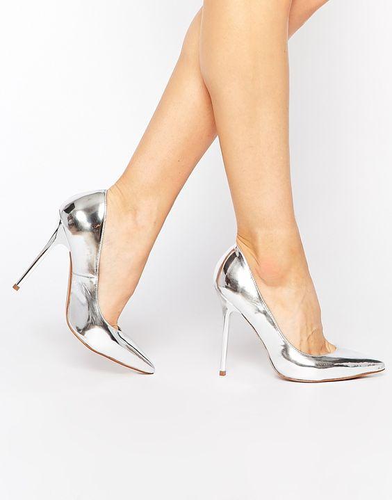 Dune Aimey Silver Metallic Heeled Court Shoes