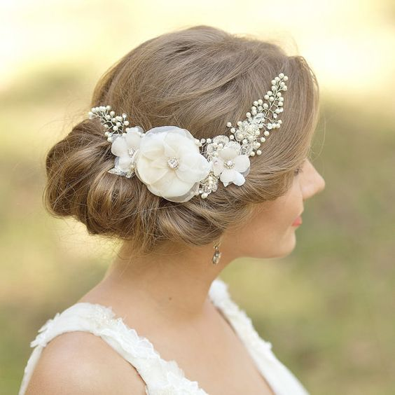 Hochzeit Braut Haarschmuck Braut Kopfstück Floral von LeFlowers