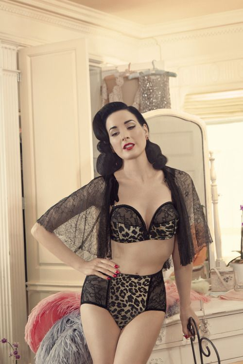 Dita Von Teese in a gorgeous leopard & lace lingerie set from her Von Follies line!