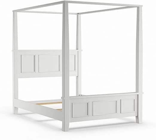 Queen Canopy Bed White Mid Century, Naples White Queen Canopy Bed