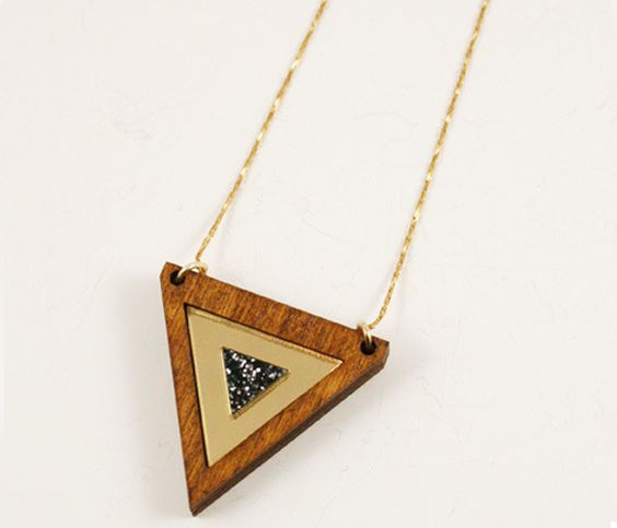 Inlaid Triangle Necklace by Wolf and moon