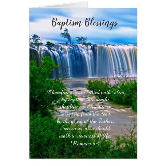 Baptism Blessings Christian Folded Card Zazzle Com Waterfall Wallpaper Waterfall Nature Wallpaper