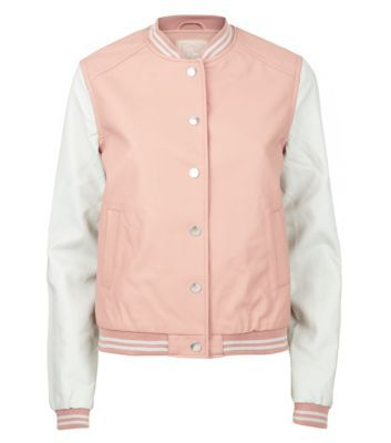 Pink Contrast Sleeve Leather-Look Baseball Jacket