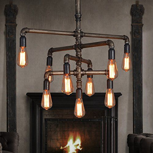 SEOL-LIGHT Barn Adjustable Pipe Chandeliers With 9 Light