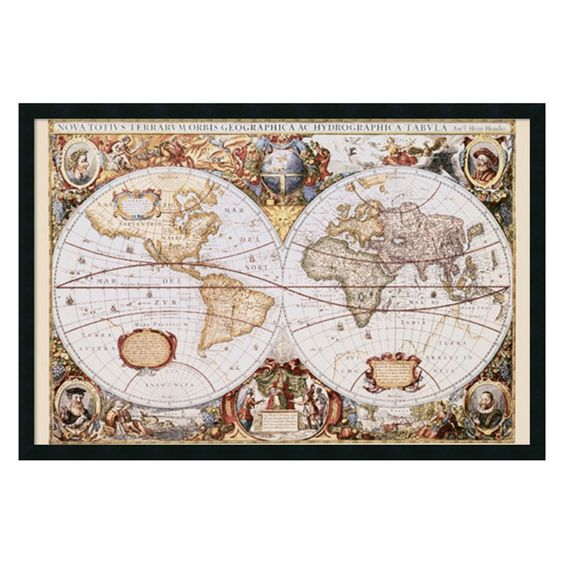 map of the world framed wall art by hondio jansson 374w x 254