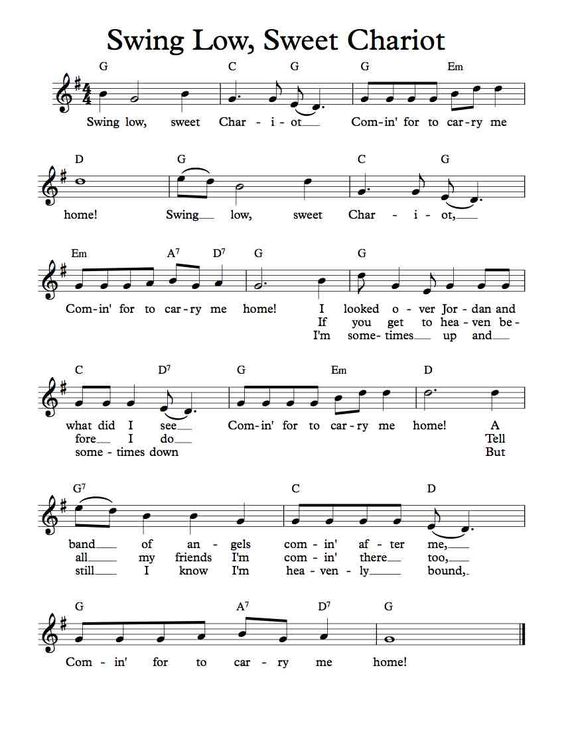 Free Sheet Music - Free Lead Sheet - Swing Low, Sweet Chariot