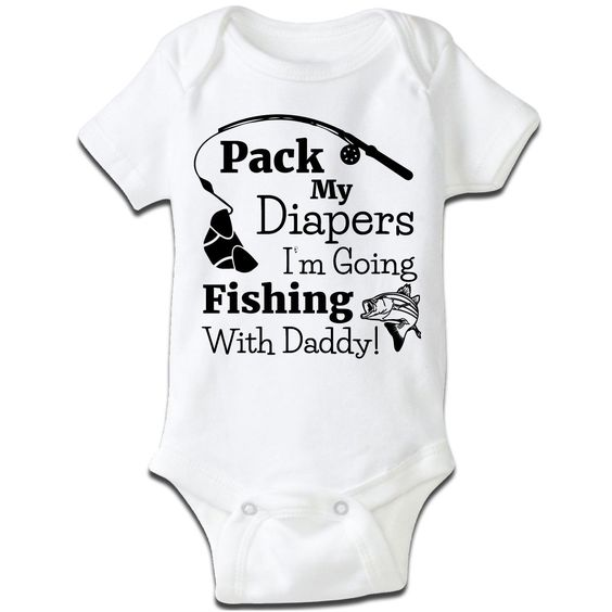 """I m Going Fishing With Daddy"" Baby Grow"