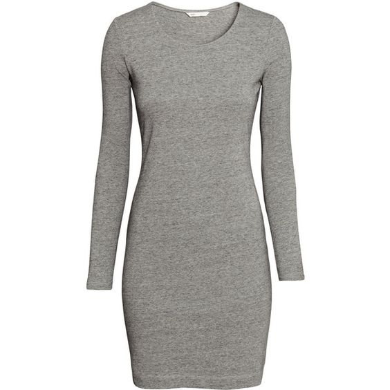 H&M Short jersey dress ($17) ❤ liked on Polyvore featuring dresses, grey marl, long sleeve jersey dress, long sleeve dress, gray jersey dress, jersey dresses and short grey dress