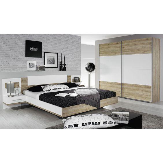 Schlafzimmer Set Bustas 160x200 mit Schwebetüren Kleiderschrank - schlafzimmer set günstig