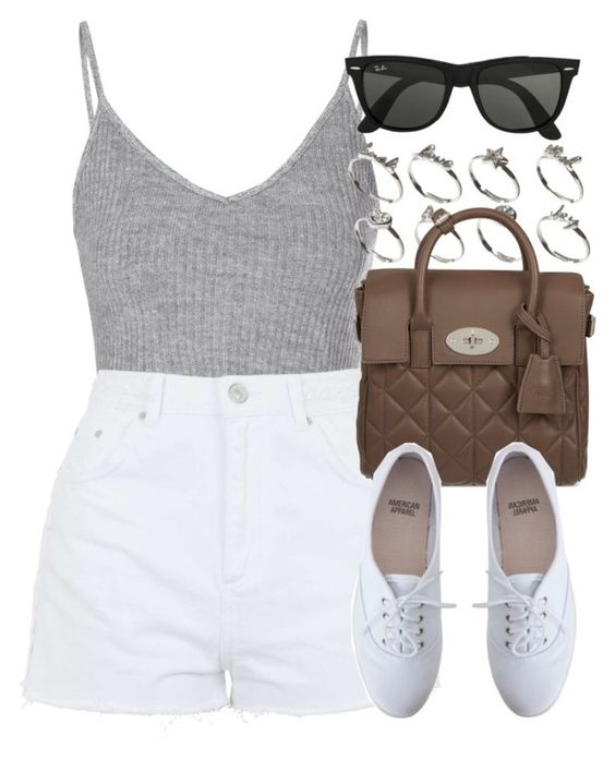 """""""Style #8884"""" by vany-alvarado ❤ liked on Polyvore featuring Glamorous, Topshop, ASOS, Mulberry, American Apparel and Ray-Ban"""