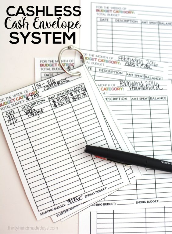 Using printable budget cards for cashless cash envelope system | Great way to budget and keep track of your expenses.  | www.thirtyhandmadedays.com