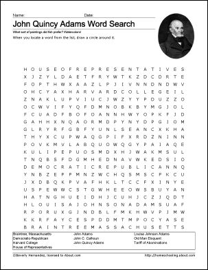 John Quincy Adams Wordsearch | Coloring, Coloring pages and Worksheets