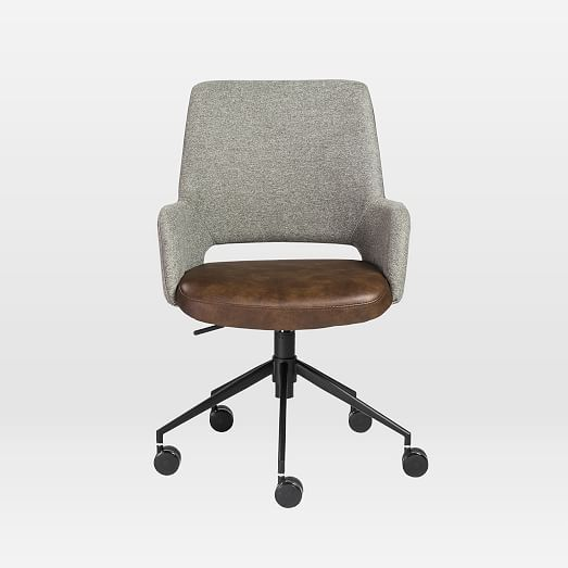 Two Toned Upholstered Office Chair West Elm In 2020 Upholstered Office Chair Brown Office Chair Modern Office Chair