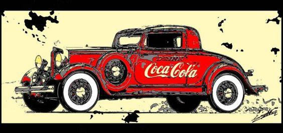 Tableau Coca Cola peinture voiture ancienne déco rouge