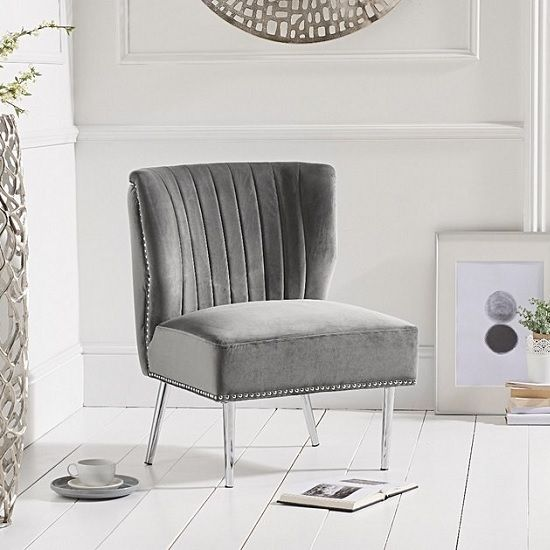 Andean Modern Accent Chair In Grey Velvet With Metal Legs Modern