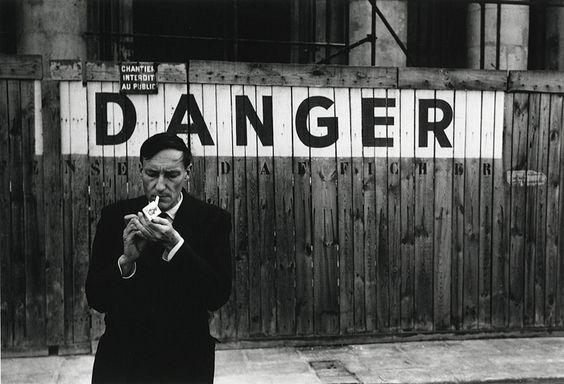 Portrait of William S. Burroughs in front of the Théâtre Odeon, Paris. ©Brion Gysin, Oct. 1959,'Danger Series'.
