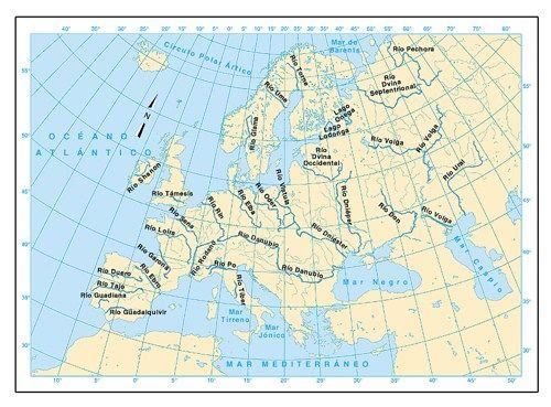 Mapa Europa Fisico Rios.Mapa De Los Rios De Europa Mapa Fisico De Europa Mapa De