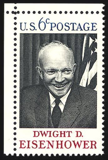 """US Stamp 1969 - 6c commemorative honoring President Dwight D. Eisenhower 34th US President 1953 - 1961 October 14 1969 at Abilene, Kansas, where he spent his youth and was eventually buried. Larger than the standard commemorative sizes of 1-1/2"""" x 1"""" this issue's size was 2"""" x 1-1/4"""". The Eisenhower commemorative issue was designed by Robert J. Jones of the Bureau of Engraving and Printing and was fashioned after a photograph taken by Bernie Noble of the Cleveland Press."""