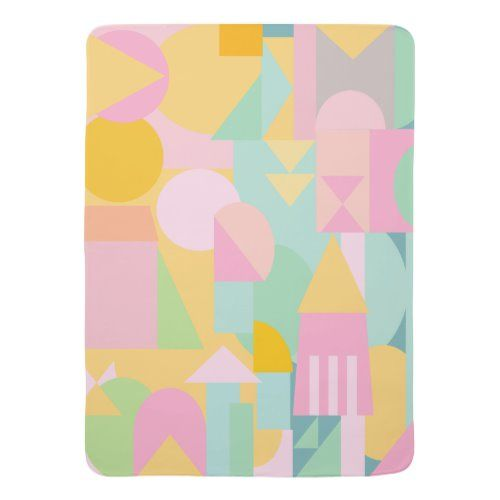 Cute Geometric Shapes Collage In Spring Pastels Baby Blanket Zazzle Com In 2021 Shape Collage Spring Pastels Geometric Shapes