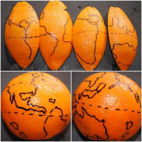 The world on an orange - great way for older kids to see the distortion in flat maps!