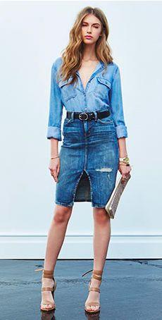 How to wear a high waisted denim pencil skirt – Modern skirts blog ...