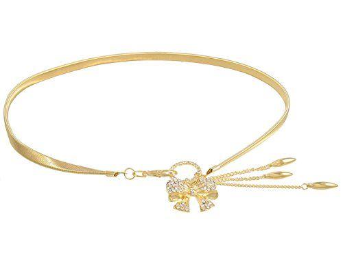 Gold Tone Bowknot Rhinestone Decor Clasp Closure Elastic Metal Waist Chain Belts For Women