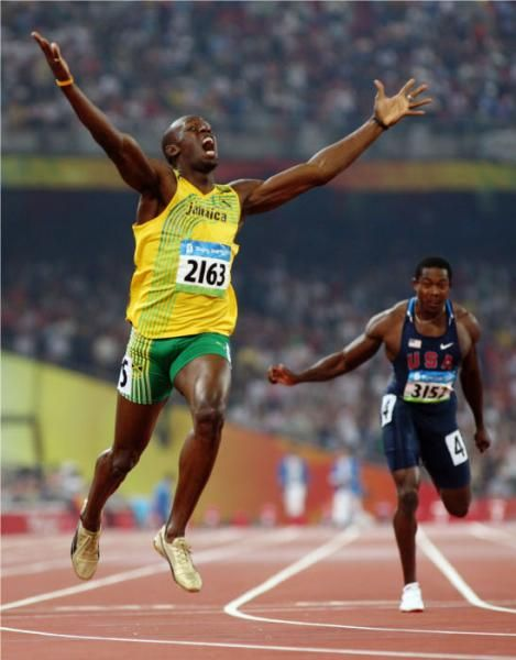 Usain Bolt Breaks 100-Meter World Record Twice. One year ...
