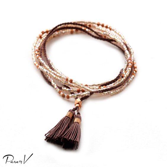 """Bracelet et/ou collier """"MANCHE"""" perles et pompon. Love PANAMV*"""