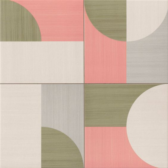 Moon Deco Pink by Realonda Retro porcelain tile with a satin matt ...