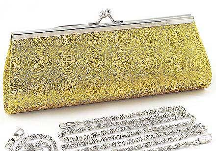 Gold Glitter Clutch Evening Bag.