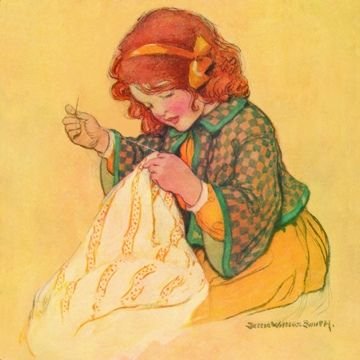 *Girl with sewing - Jessie Willcox Smith*