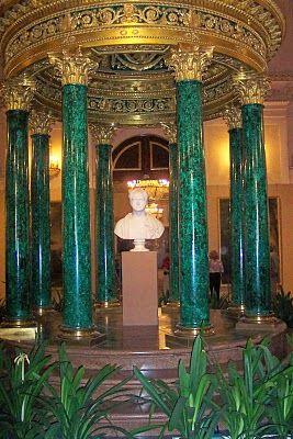 Malachite Room - Hermitage Museum, Saint Petersburg, Russia. Malachite is a semi-precious gemstone . It has beautiful markings and variegated shades of green.