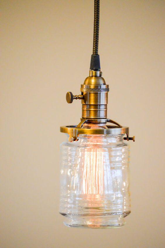 jelly jar style hanging pendant light by oldebricklighting light fi. Black Bedroom Furniture Sets. Home Design Ideas