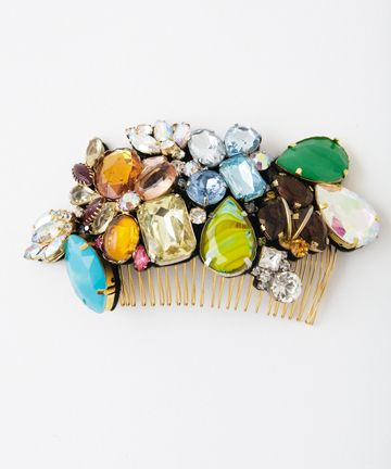 """yeah, you heard us right...a good time color riot is exactly what this is. a mixture of vintage and modern jewels in a one-of-a-kind mashup. anyone who sees you rocking this will know you're obviously down for a good time.    colored jewels  5.5"""" x 3""""  4"""" comb"""