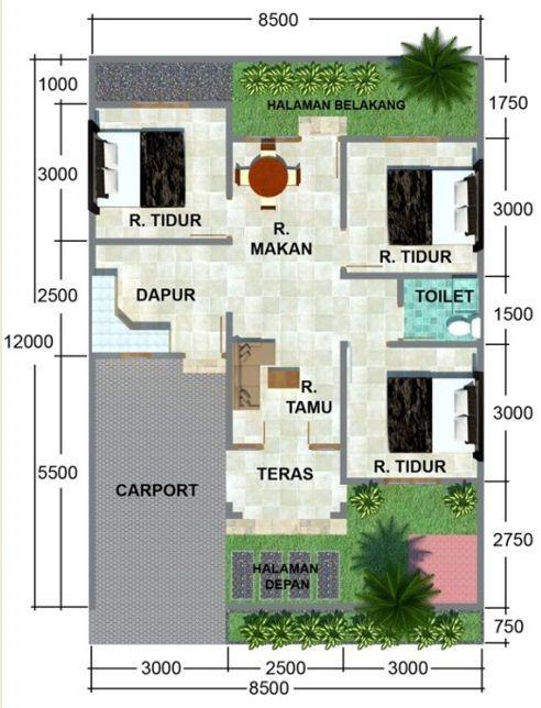 denah rumah tipe 45 taman depan dan belakang   Rumah minimalis, Denah rumah, Desain rumah