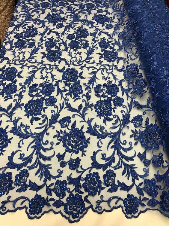 ROYAL Blue Cotton Lace Fabric by the Yard Wedding Bridal Craft Lace Material Cotton ROYAL BLUE Lace Fabrics 1 Yard Style 231