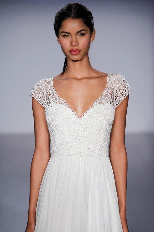 Ivory silk georgette a line bridal gown beaded laser cut for Silk georgette wedding dress
