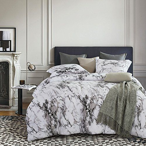 Marble Duvet Cover Set Black White And Gray Grey Modern Pattern Printed Soft Microfiber Bedding With Zipper Closure 3pcs Full Size Marble Duvet Cover Comforter Sets Bedroom Decorating Tips