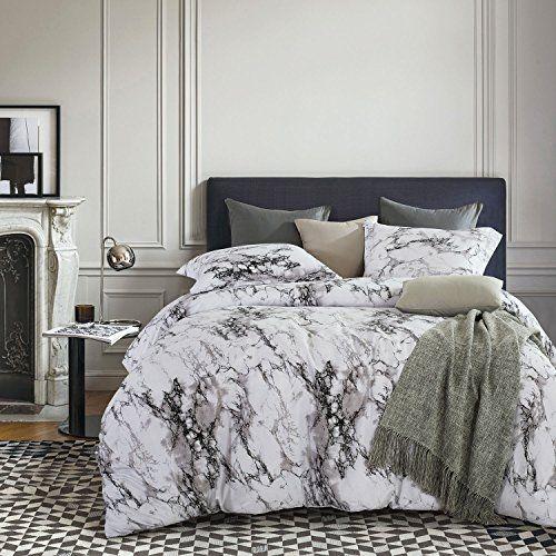 Marble Duvet Cover Set Black White And Gray Grey Modern Pattern