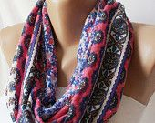 XMAS IN JULY %20 Sale-Colorful lots of flowers chunky design jersey cowl