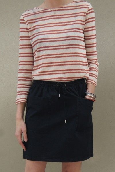 A.P.C. Sailor Top With Thin Stripes Red - Tops - Womens / Arrow & Arrow
