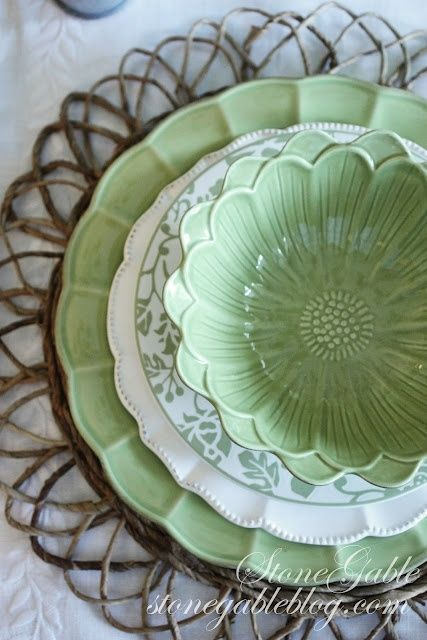 Beautiful flower bowls ...buy plain white, square dinner dishes and buy mixed serving dishes to make a complete set.: