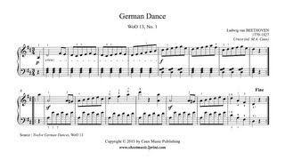 Beethoven : German Dance in D Major, WoO 13, No. 1 www.sheetmusic2print.com/Beethoven/German-Dance-13-1.aspx